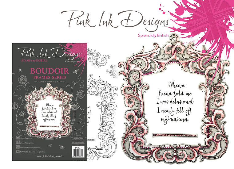 Pink Ink Designs Stamp - Frames - Boudoir - Plus Bonus Dinky Pinky Stamp