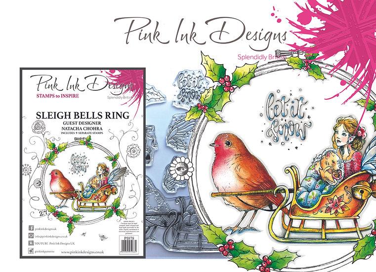 Pink Ink Designs A5 Stamp - Sleigh Bells Ring - Plus Bonus Paper