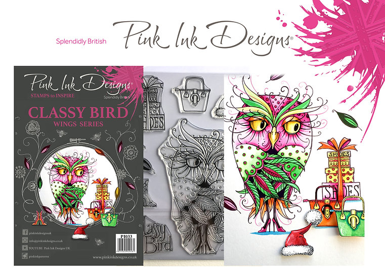 Pink Ink Designs Stamp - Owl Classy Bird - Plus Bonus Dinky Pinky Stamp
