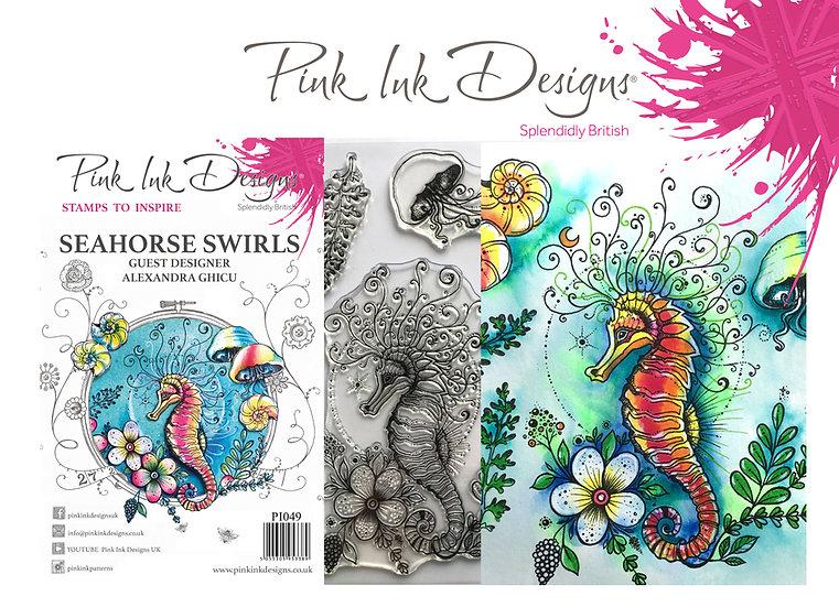 Pink Ink Designs Stamp - Seahorse Swirls - Plus Bonus Dinky Pinky Stamp