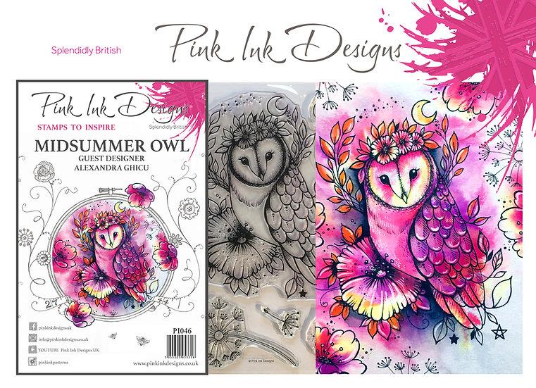 Pink Ink Designs Stamp - Midsummer Owl - Plus Bonus Dinky Pinky Stamp