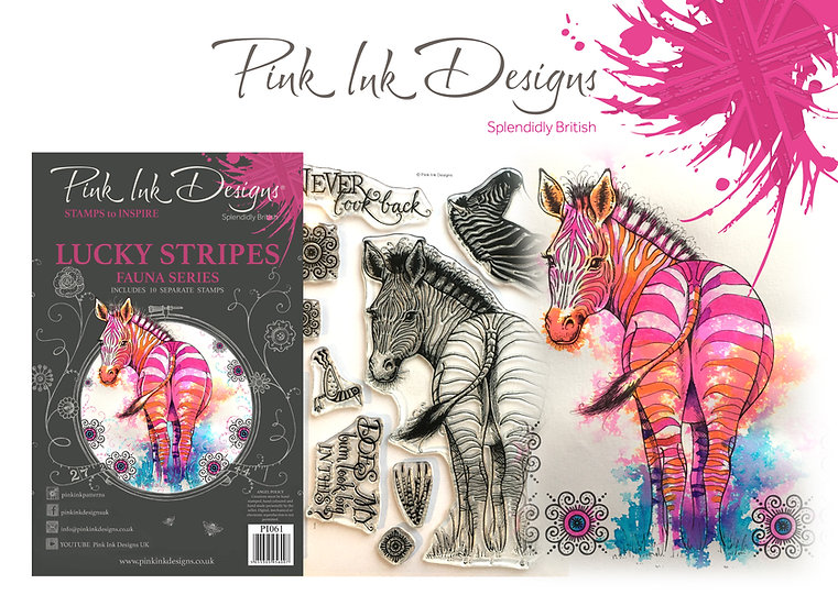 Pink Ink Designs Stamp - Zebra - Plus Bonus Dinky Pinky Stamp