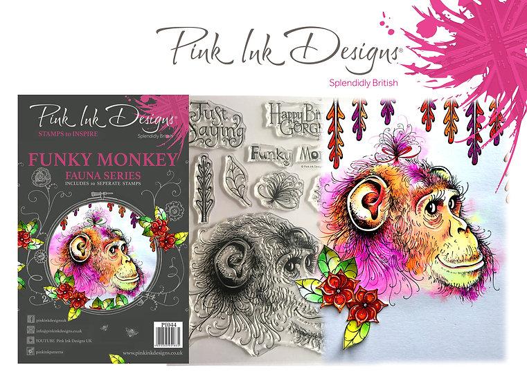 Pink Ink Designs Stamp - Monkey - Plus Bonus Dinky Pinky Stamp