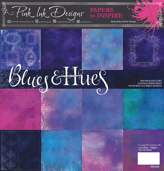 "Pink Ink Designs 8"" x 8"" paper pad - Blues & Hues"