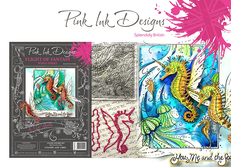 Pink Ink Designs Stamp and Die Set - Seahorse Flight of Fancy