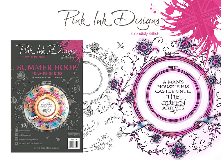 Pink Ink Designs Stamp - Frames - Summer Hoop - Plus Bonus Dinky Pinky Stamp
