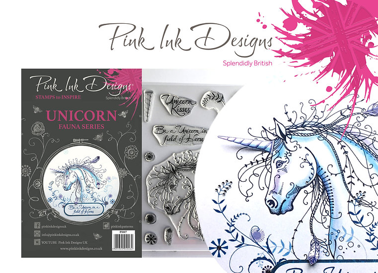 Pink Ink Designs Stamp - Unicorn Horse - Plus Bonus Dinky Pinky Stamp