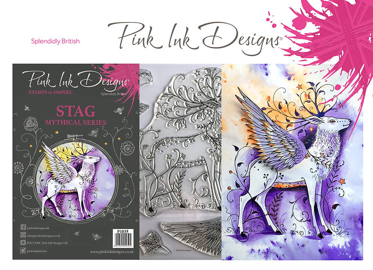 Pink Ink Designs Stamp - Stag Deer - Plus Bonus Dinky Pinky Stamp