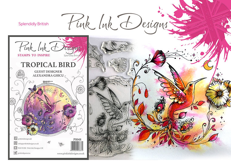 Pink Ink Designs Stamp - Tropical Bird - Plus Bonus Dinky Pinky Stamp