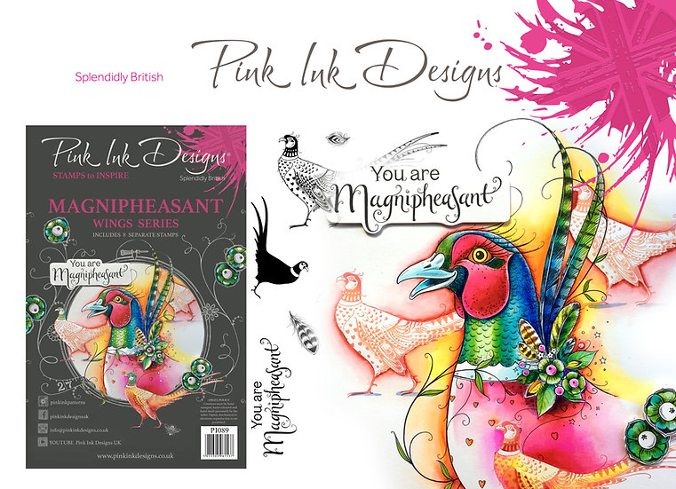 Pink Ink Designs Stamp - Magnipheasant -  Plus Bonus Dinky Pinky Stamp