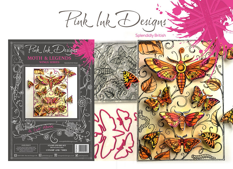 Pink Ink Designs Stamp and Die Set - Moths and Legends Plus Dinky Pinky Stamp