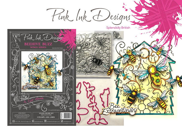 Pink Ink Designs Stamp and Die Set - Beehive Buzz