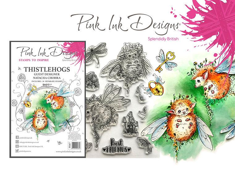 Pink Ink Designs Stamp - Thistlehogs - Hedgehogs - Plus Bonus Dinky Pinky Stamp