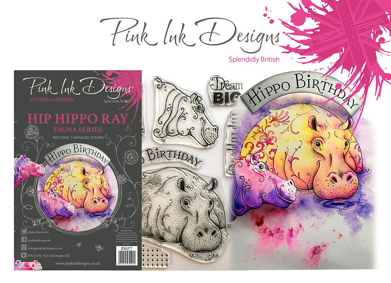 Pink Ink Designs Stamp - Hippo - Plus Bonus Dinky Pinky Stamp
