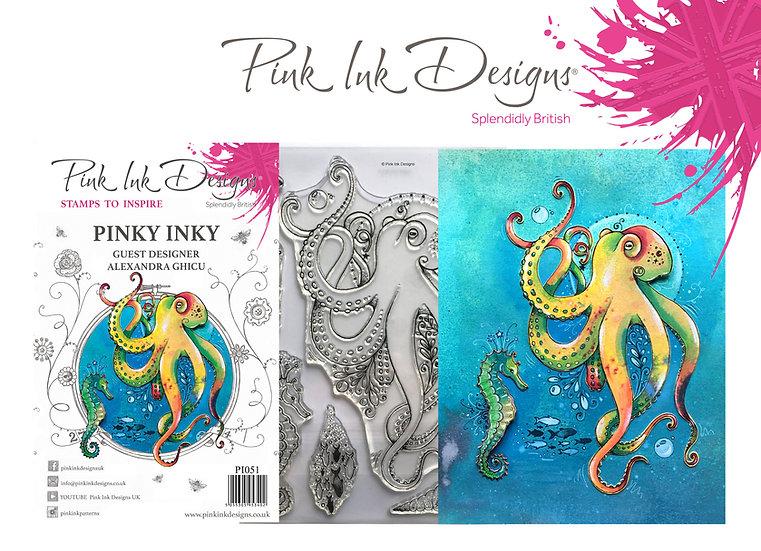 Pink Ink Designs Stamp - Octopus - Plus Bonus Dinky Pinky Stamp