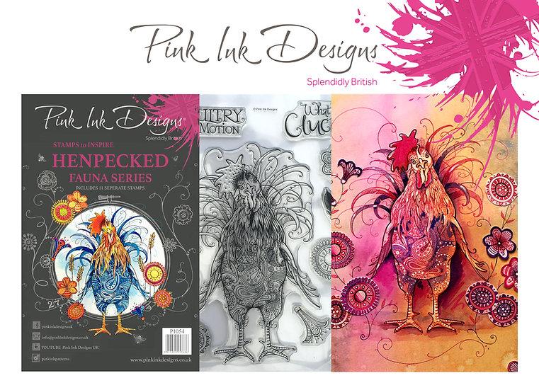 Pink Ink Designs Stamp - Chicken Henpecked - Plus Bonus Dinky Pinky Stamp