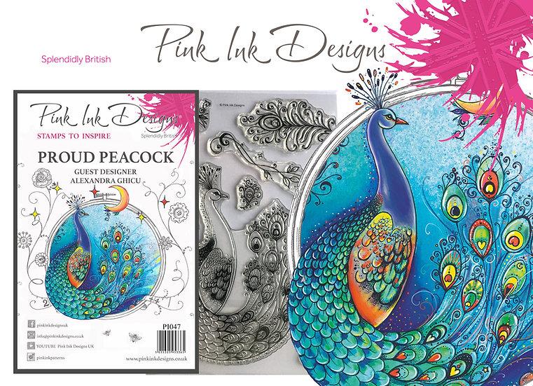 Pink Ink Designs Stamp - Peacock - Plus Bonus Paper