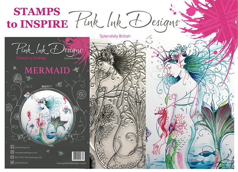 Pink Ink Designs Stamp - Mermaid - Plus Bonus Dinky Pinky Stamp