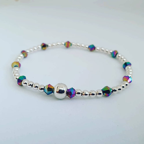Sterling silver metallic rainbow