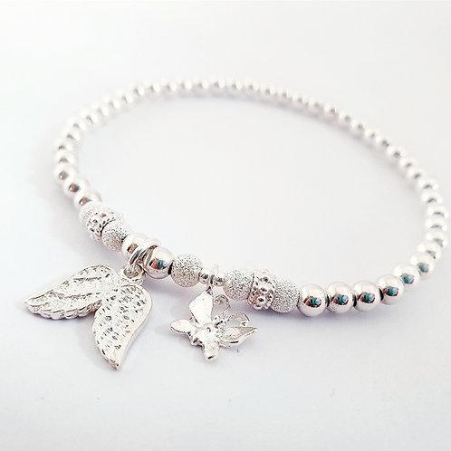 Angel wings & Butterfly charm bracelet