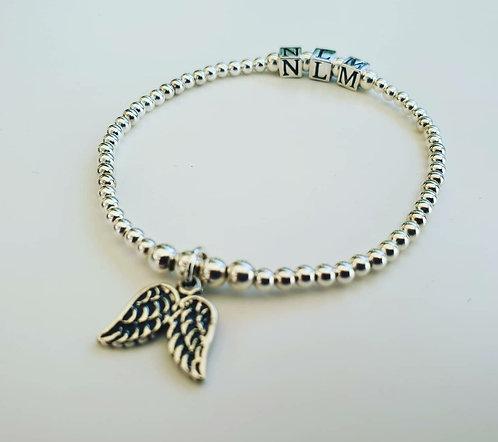 Angel wing initial bracelet