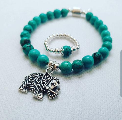 Turquoise elephant duo