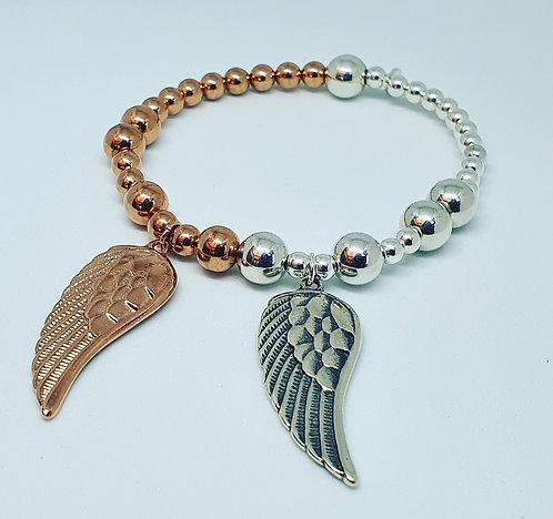 Sterling silver & Rose gold Angel wing bracelet