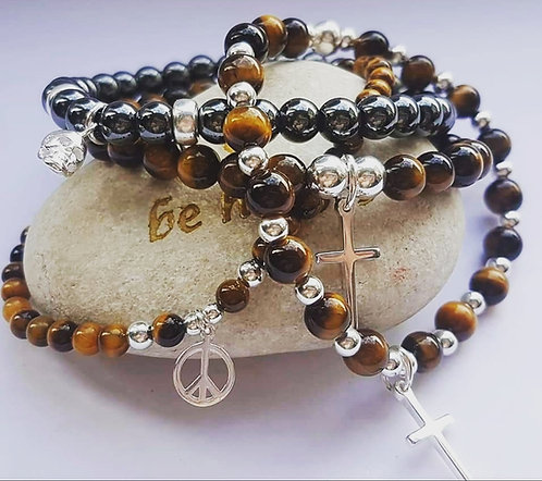 Tiger eye & Hematite stack