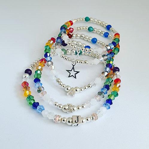 Childrens bespoke rainbow bracelet