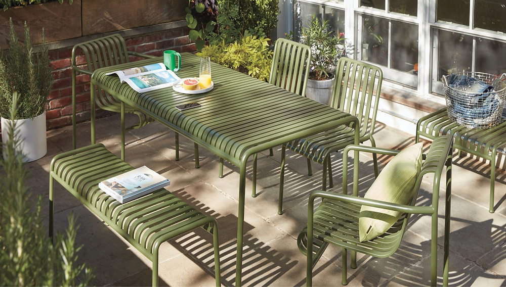Small space, outdoor patio furnishings in a durable, olive green finish.