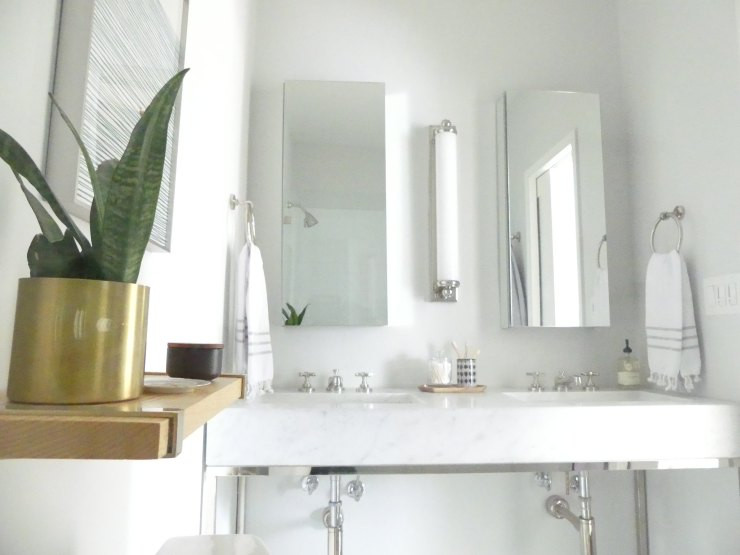 Small master bath with double sinks