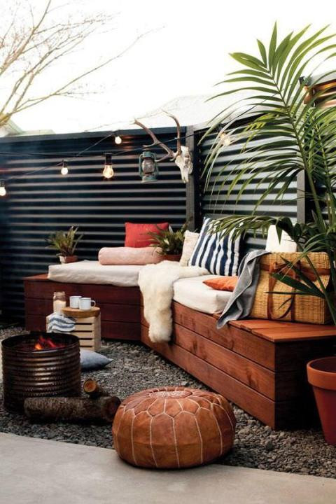Boho Chic Outdoor Built-in Seating