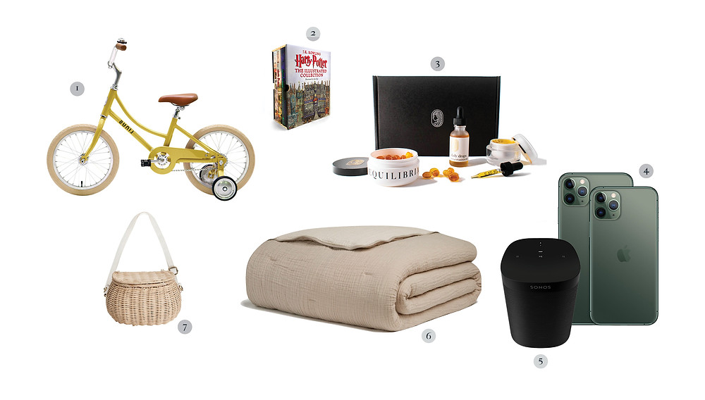 CBD oils, Parachute Home quilt, Harry Potter series, iPhone, Sonos speakers, kid bike