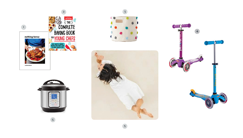 Cooking and baking books, Instant Pot, toy bins, Gathre mat, scooters.