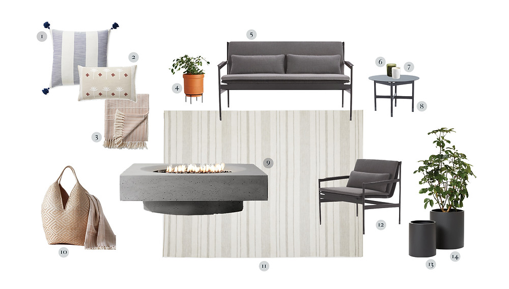 Sleek outdoor patio space with rug, sofa, lounge chair, planters, pillows and blankets;