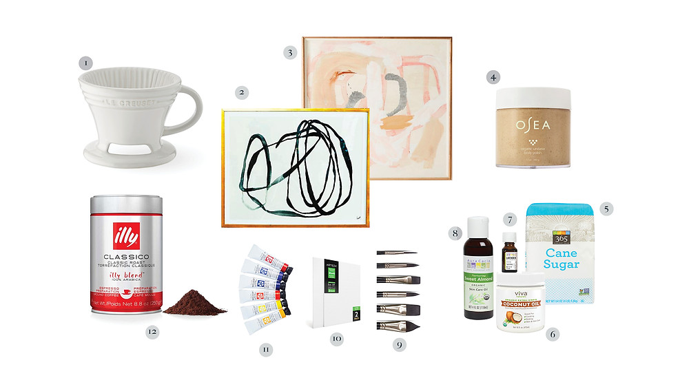 Pour over coffee, Illy coffee, paint supplies, abstract art, sugar scrub ingredients, Osea body polish.