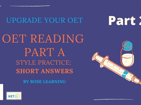 OET Reading Part A: Short Answers