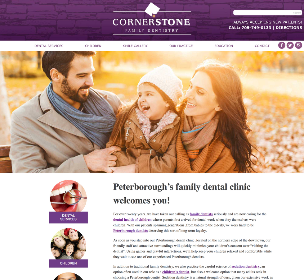 Cornerstone Family Dentistry Website Redesign