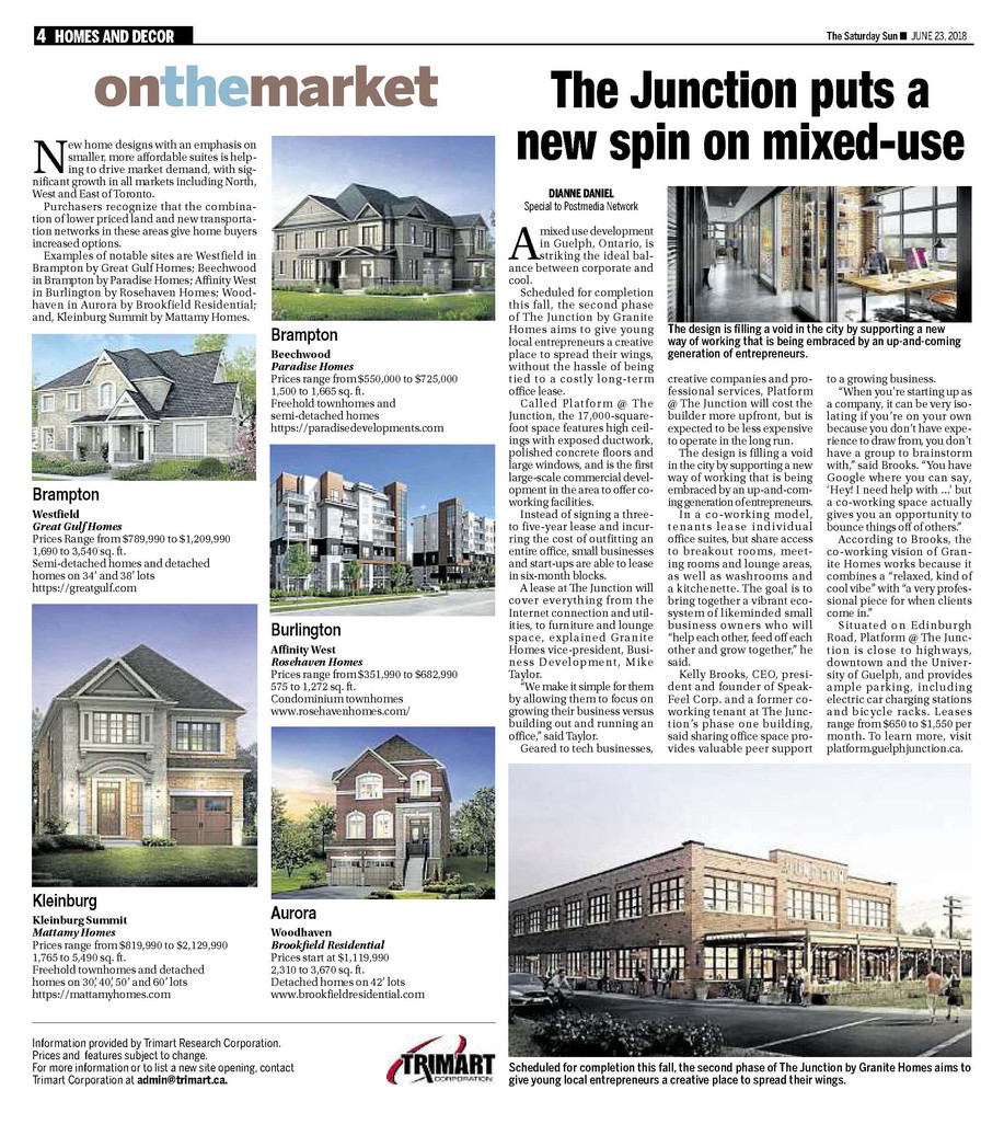 Toronto Sun - Granite Homes The Junction