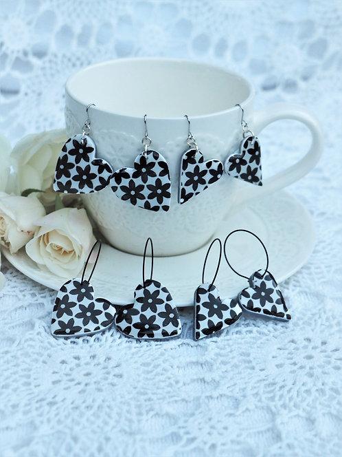 Daisy Heart Monochrome Earrings