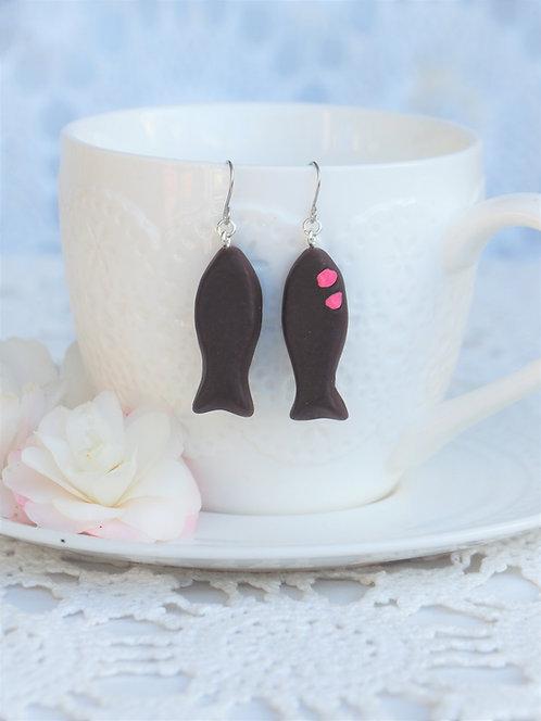 Chocolate Fish Hook Earrings