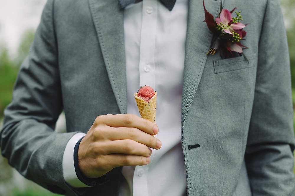 Mini Grape Ice Cream Cones with Lavender Sprinkles by Toque Catering