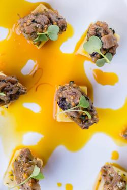 Parmesan Polenta Squares Peking Duck