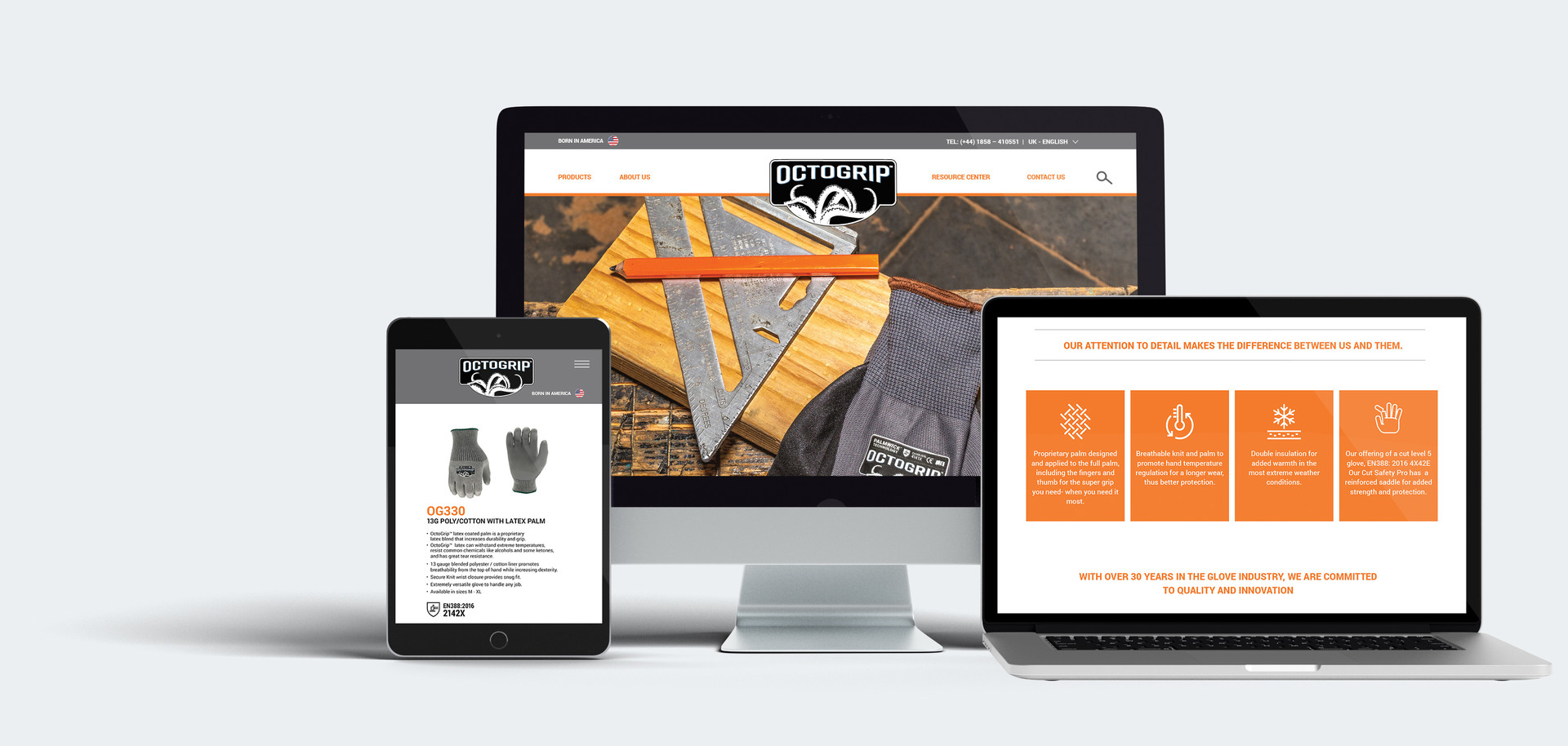 OctoGrip Glove Web Design