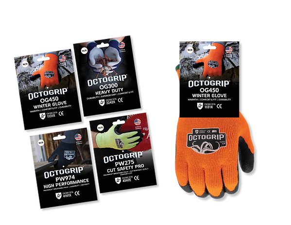 OctoGrip Industrial Gloves Hang Tag Design