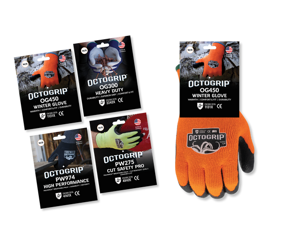 OctoGrip Industrial Glove Hang Tag Package Design