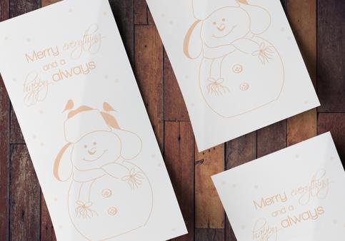 Kerstkaart Pastel Sneeuwman