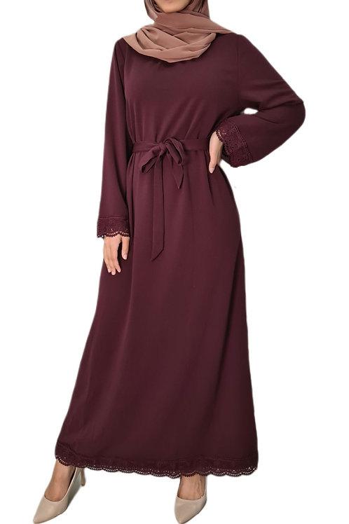Vintage Lace Dress Maroon
