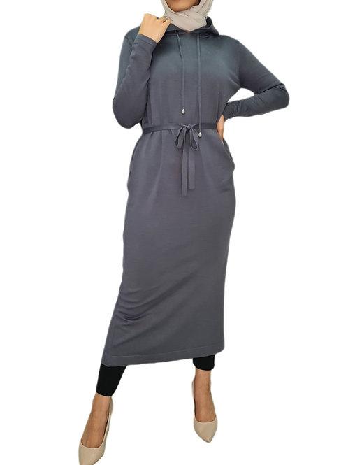Amber Soft Knit Dress Blue Grey