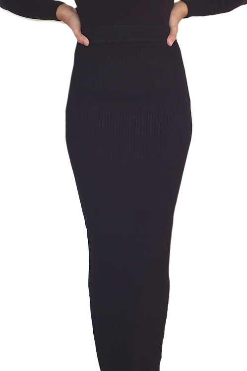 Knit Ribbed Skirt Black